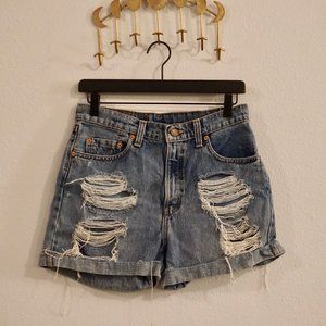 Vintage High waisted Levi Distressed Shorts